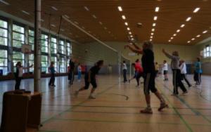 Bei den verschiedenen Workshops kamen die Teilnehmer ziemlich ins Schwitzen. Foto: Sportbund